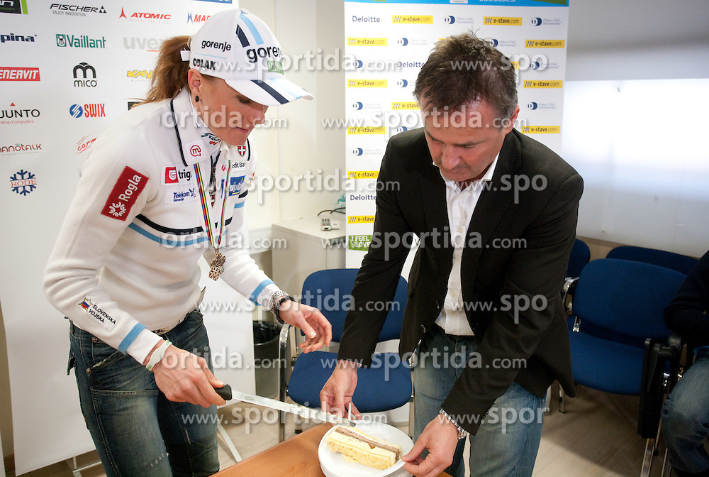 Cross country skier Petra Majdic of Slovenia and Primoz Ulaga at press conference at the end of her sports career on March 22, 2011 in SZS, Ljubljana, Slovenia. (Photo By Vid Ponikvar / Sportida.com)