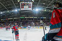 KELOWNA, CANADA - OCTOBER 27: Gordie Ballhorn #4 of the Kelowna Rockets skates to the bench against the Tri-City Americans on October 27, 2017 at Prospera Place in Kelowna, British Columbia, Canada.  (Photo by Marissa Baecker/Shoot the Breeze)  *** Local Caption ***