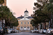 The Old Exchange & Provost Dungeon building at sunset along Broad Street in historic Charleston, SC.