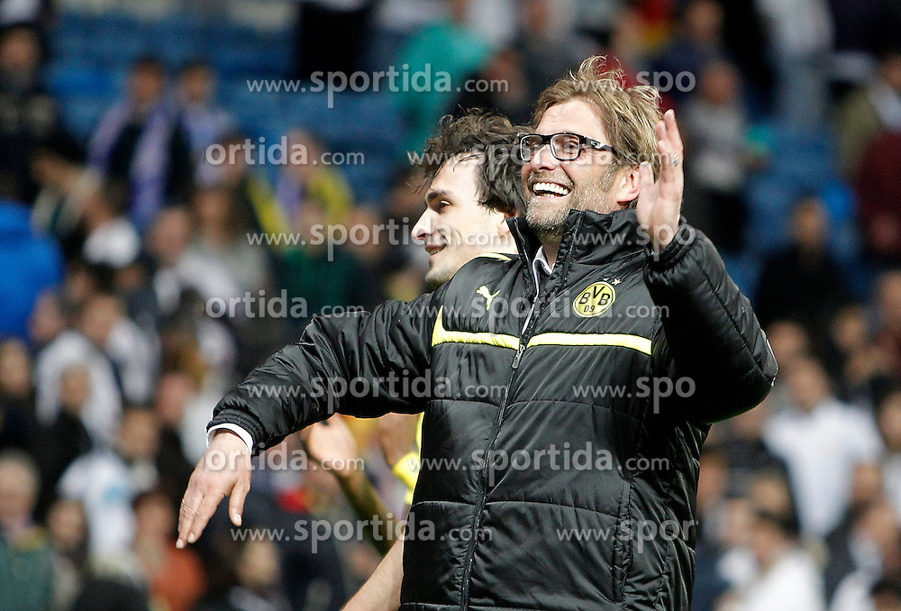 30.04.2013, Estadio Santiago Bernabeu, Madrid, ESP, UEFA CL, Real Madrid vs Borussia Dortmund, Halbfinale, Rueckspiel, im Bild Borussia Dortmund's coach Jürgen Klopp celebrates // after UEFA Champions League 2nd Leg Semifinal Match between Real Madrid and Borussia Dortmund at the Estadio Santiago Bernabeu, Madrid, Spain on 2013/04/30. EXPA Pictures © 2013, PhotoCredit: EXPA/ Alterphotos/ Alvaro Hernandez..***** ATTENTION - OUT OF ESP and SUI *****