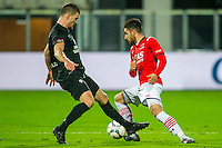 ALKMAAR - 02-02-2016, AZ - HHC, AFAS Stadion, 1-0, HHC speler Jan Hooiveld, AZ speler Alireza Jahanbakhsh.
