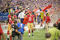 3 February 2013: Quarterback (11) Alex Smith of the San Francisco 49ers walks off the field through confetti after the Baltimore Ravens 34-31 victory over the 49ers in Superbowl XLVII at the Mercedes-Benz Superdome in New Orleans, LA.