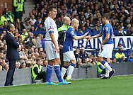 Muhamed Besic of Everton is substituted by Steven Naismith after getting injured during the Barclays Premier League match against Chelsea, at Goodison Park, Liverpool.<br /> Picture by Michael Sedgwick/Focus Images Ltd +44 7900 363072<br /> 12/09/2015