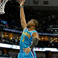 October 29, 2010; New Orleans, LA, USA; New Orleans Hornets point guard Chris Paul (3) shoots against the Denver Nuggets during the third quarter at the New Orleans Arena.  Mandatory Credit: Derick E. Hingle