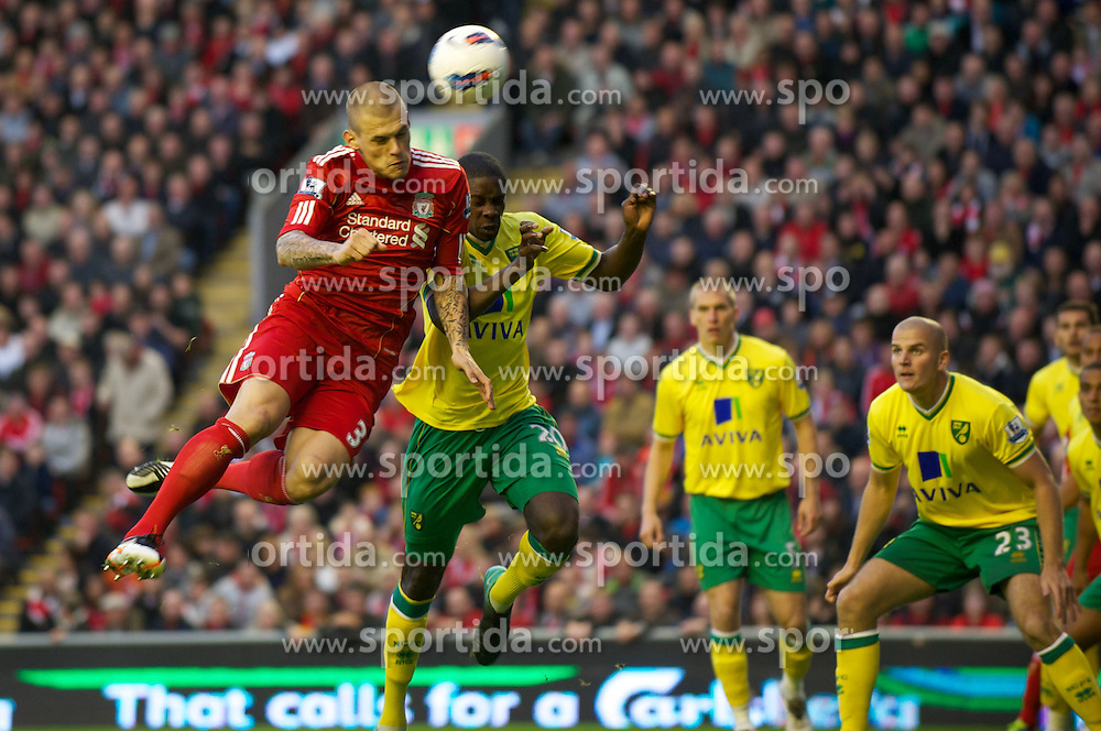 22.10.2011, Anfield Stadion, Liverpool, ENG, PL, FC Liverpool - Norwich City, im Bild Liverpool's Martin Skrtel with an early chance against Norwich City during the Premiership match at Anfield // during the Premier League football match between FC Liverpool - Norwich City, at Anfield Stadium, Liverpool, United Kingdom on 22/10/2011. EXPA Pictures © 2011, PhotoCredit: EXPA/ Propaganda Photo/ David Rawcliff +++++ ATTENTION - OUT OF ENGLAND/GBR+++++