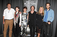 Steven Knight; Sophie Rundle; Helen McCrory; Cillian Murphy; Annabelle Wallis; Otto Bathurst, Gala Screening of episode 1 of new BBC Two gangster drama 'Peaky Blinders', BFI Southbank, London UK, 21 August 2013, (Photo by Richard Goldschmidt)