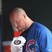 NEW YORK, NEW YORK - July 03: Pitcher Jon Lester #34 of the Chicago Cubs after he was pulled in the second innings after giving up seven runs during the Chicago Cubs Vs New York Mets regular season MLB game at Citi Field on July 03, 2016 in New York City. (Photo by Tim Clayton/Corbis via Getty Images)