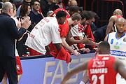 Panchina EA7 Olimpia Milano, EA7 Emporio Armani Milano vs Germani Basket Brescia LBA serie A 4^ giornata di ritorno stagione 2016/2017 Mediolanum Forum Assago, Milano 12/02/2017