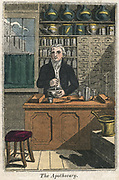 The Apothecary using pestle and mortar to prepare drugs, 1823.  From 'The Book of English Trades'. (London, 1823). Hand-coloured woodcut.