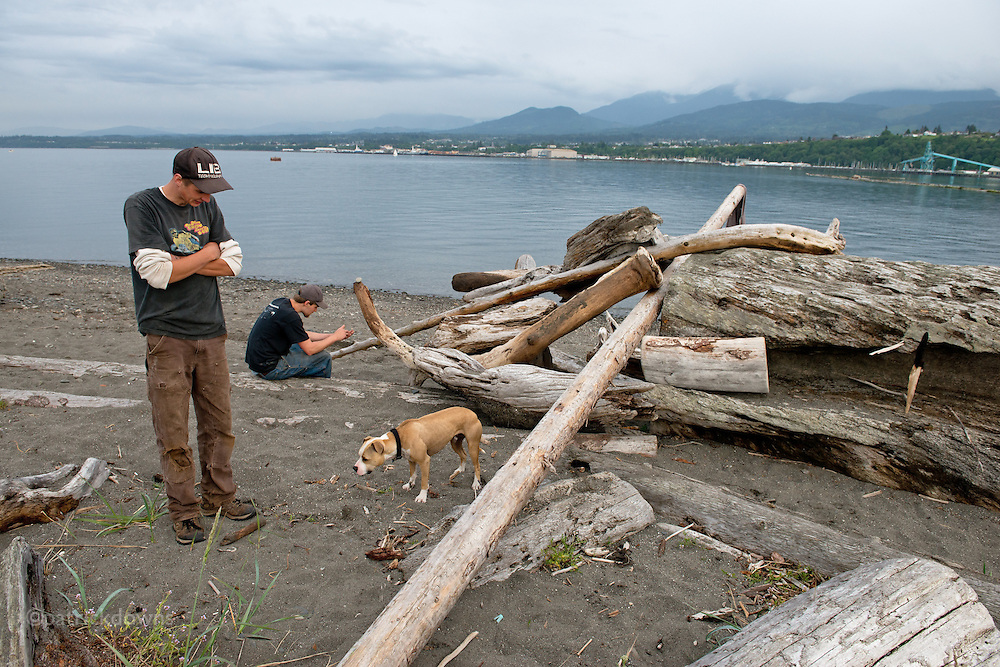 Two guys. And a dog waiting – for someone to throw the darn stick. #dailylife