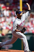 17 April 2010:New York Mets starting pitcher Johan Santana (57) releases a pitch towards a Cardinals batter during Saturday's game at Busch Stadium in St. Louis, Missouri. The Game would go 20 innings, with the Mets winning 2-1.