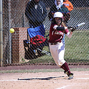 Caravel Academy Infielder Samantha Esper (1) attempts to  make contact with the ball during a varsity scheduled game between Caravel Academy and The Delmar Wildcats Saturday, April 4, 2015, at Caravel Athletic Field in Bear Delaware.