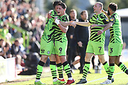 Forest Green Rovers Aaron Collins(10) scores a goal 1-0 and celebrates during the EFL Sky Bet League 2 match between Forest Green Rovers and Mansfield Town at the New Lawn, Forest Green, United Kingdom on 19 October 2019.