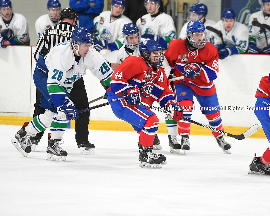 BURLINGTON, - Mar 2, 2016 -  Ontario Junior Hockey League game action between Burlington Cougars and the Toronto Junior Canadians. Game 1 of the first round playoff series at the Appleby Ice Centre, ON. Chris Cobham #26 of the Burlington Cougars and Nicholas Jarzabek #44 of the Toronto Jr. Canadiens pursue the play during the third period.<br /> (Photo by Andy Corneau / OJHL Images)