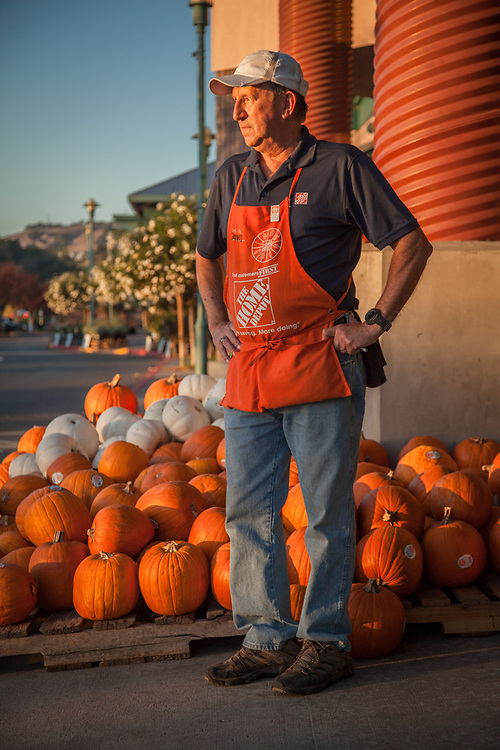 "Landscape Associate, David Rabon, looks for customers who may need assistance at the Home Depot in Santa Rosa, CA  ""I am retired military and a retired accountant...I work here part time and love it.""  dlrabon@aol.com"