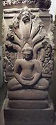 Buddhist stele. Last quarter of 10th century-early 11th century. Khleang style (late 10th-early 11th century) sandstone sculpture. Head of Buddha, 11th century style Baphuon (1050-1100) sandstone sculpture. Ta Prohm (temple) Cambodia Cambodia.