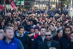 Emirates Stadium, London, November 6th 2016. Fans arrive  at the Emirates Stadium from Holloway Road for the North London derby between Arsenal and Tottenham.