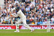 Ravindra Jadeja of India gets a thick edge which goes for 4 runs during day 3 of the 5th test match of the International Test Match 2018 match between England and India at the Oval, London, United Kingdom on 9 September 2018.