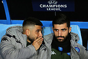Lorenzo Insigne (L) and Sebastiano Luperto (R) of Napoli talk each other on the bench before the UEFA Champions League, Group E football match between SSC Napoli and KRC Genk on December 10, 2019 at Stadio San Paolo in Naples, Italy - Photo Federico Proietti / ProSportsImages / DPPI