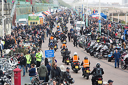 Brighton, UK. Bikers arrive at Madeira Drive in Brighton after their run from London part of the ACE Cafe yearly event. Photo Credit: Hugo Michiels