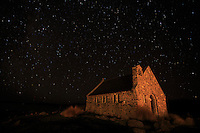 The historic stone Church of Good Shepherd on the shores of Lake Tekapo on the South Island of New Zealand.