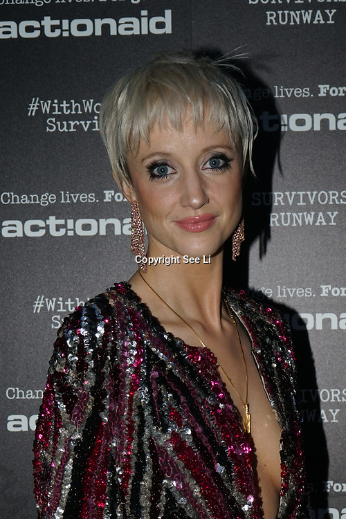 U Block 146 Brick Lane, London, UK. 10th October, 2017. Andrea Riseborough attend the ActionAid Survivors Runway - fashion show showcase the inner strength and dignity of survivors who have had the courage to speak out against gender-based violence