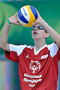 Exhibition match of Special Olympics Poland during Day 7 of the FIVB World Championships on July 7, 2013 in Stare Jablonki, Poland. <br /> <br /> Poland, Stare Jablonki, July 07, 2013<br /> <br /> Picture also available in RAW (NEF) or TIFF format on special request.<br /> <br /> For editorial use only. Any commercial or promotional use requires permission.<br /> <br /> Mandatory credit:<br /> Photo by &copy; Adam Nurkiewicz / Mediasport
