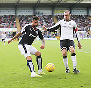 Dundee's Kane Hemmings and St Johnstone&rsquo;s David Mackay - Dundee v St Johnstone at Dens Park <br /> - Ladbrokes Premiership<br /> <br />  - &copy; David Young - www.davidyoungphoto.co.uk - email: davidyoungphoto@gmail.com