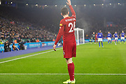 Andy Robertson (26) lines up the corner during the Premier League match between Leicester City and Liverpool at the King Power Stadium, Leicester, England on 26 December 2019.
