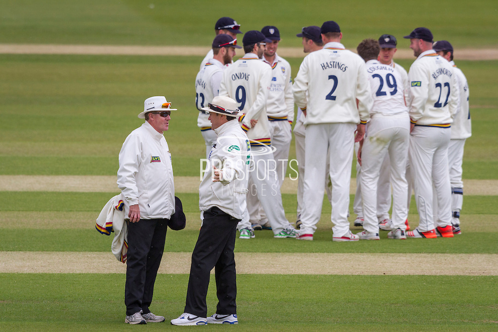 Durham players celebrates after taking the wicket of Peter Trego (Somerset County Cricket Club) during the LV County Championship Div 1 match between Durham County Cricket Club and Somerset County Cricket Club at the Emirates Durham ICG Ground, Chester-le-Street, United Kingdom on 8 June 2015. Photo by George Ledger.