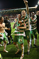 Photo: Rich Eaton.<br /> <br /> Nottingham Forest v Yeovil Town. Coca Cola League 1. Play off Semi Final 2nd Leg. 18/05/2007. Lee Morris #25 and Scott Guyet #5 celebrate victory 5-2 over Forest