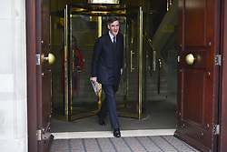 March 27, 2019 - London, United Kingdom - Conservative Party MP Jacob Rees Mogg is pictured as he makes his way to the Houses of parliament, London on March 27, 2019. Mr Rees Mogg has said that he will back Prime minister Theresa May's Brexit deal in the next Meaningful Vote. (Credit Image: © Alberto Pezzali/NurPhoto via ZUMA Press)