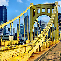 Andy Warhol Bridge and Downtown Pittsburgh Skyline in Pittsburgh, Pennsylvania <br />