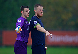 KIRKBY, ENGLAND - Sunday, October 21, 2018: Derby County's goalkeeper Josh Barnes and Alex Pearce during the Under-23 FA Premier League 2 Division 1 match between Liverpool FC and Derby County at The Kirkby Academy. (Pic by David Rawcliffe/Propaganda)