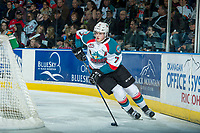KELOWNA, CANADA - APRIL 8: Lucas Johansen #7 of the Kelowna Rockets skates with the puck behind the net against the Portland Winterhawks on April 8, 2017 at Prospera Place in Kelowna, British Columbia, Canada.  (Photo by Marissa Baecker/Shoot the Breeze)  *** Local Caption ***