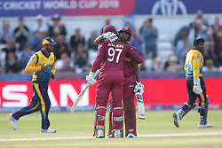 July 1, 2019 - Chester Le Street, County Durham, United Kingdom - Fabian Allen of West Indies celebrates after scoring fifty during the ICC Cricket World Cup 2019 match between Sri Lanka and West Indies at Emirates Riverside, Chester le Street on Monday 1st July 2019. (Credit Image: © Mi News/NurPhoto via ZUMA Press)