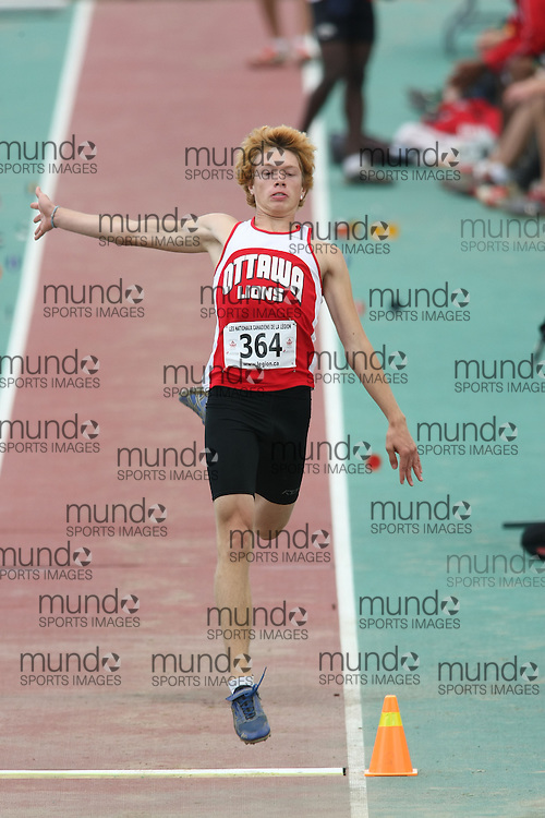 (Sherbrooke, Quebec---10 August 2008) Matt Nolan competing in the youth boys long jump at the 2008 Canadian National Youth and Royal Canadian Legion Track and Field Championships in Sherbrooke, Quebec. The photograph is copyright Sean Burges/Mundo Sport Images, 2008. More information can be found at www.msievents.com.