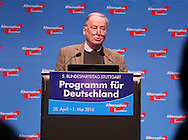 Party founder Alexander Gauland during the fifth Alternative for Germany  (AfD) party convention at the Messe Stuttgart, Stuttgart, Germany.<br /> Picture by EXPA Pictures/Focus Images Ltd 07814482222<br /> 30/04/2016<br /> <br /> ***UK & IRELAND ONLY***<br /> <br /> EXPA-EIB-160430-0085.jpg