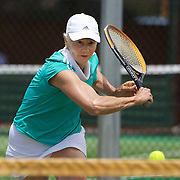 Judy Hancy, Australia, in action in the 65 Womens Singles during the 2009 ITF Super-Seniors World Team and Individual Championships at Perth, Western Australia, between 2-15th November, 2009.