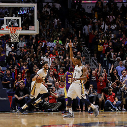 Mar 22, 2018; New Orleans, LA, USA; New Orleans Pelicans forward Anthony Davis (23) runs out the final seconds after stealing a pass during the fourth quarter against the Los Angeles Lakers at the Smoothie King Center. The Pelicans defeated the Lakers 128-125. Mandatory Credit: Derick E. Hingle-USA TODAY Sports