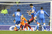 Inigo Calderon early attempt is blocked during the Sky Bet Championship match between Brighton and Hove Albion and Huddersfield Town at the American Express Community Stadium, Brighton and Hove, England on 14 April 2015. Photo by Stuart Butcher.