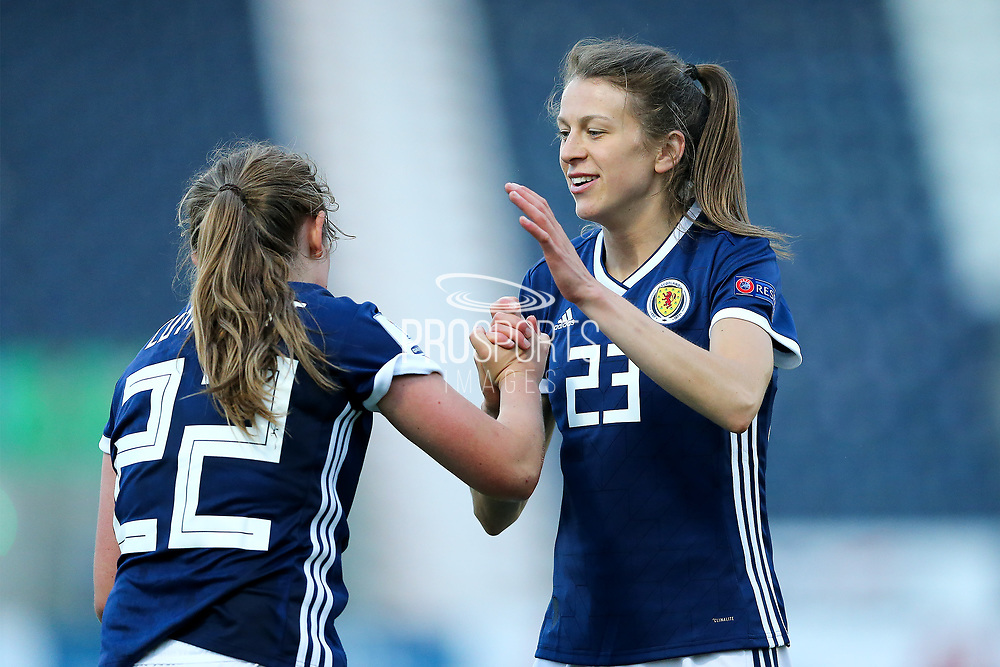 Lizzie Arnot (#23) of Scotland celebrates with Erin Cuthbert (#22) of Scotland following Scotland's 2-1 win over Belarus during the FIFA Women's World Cup UEFA Qualifier match between Scotland Women and Belarus Women at Falkirk Stadium, Falkirk, Scotland on 7 June 2018. Picture by Craig Doyle.