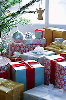 Presents under Christmas tree