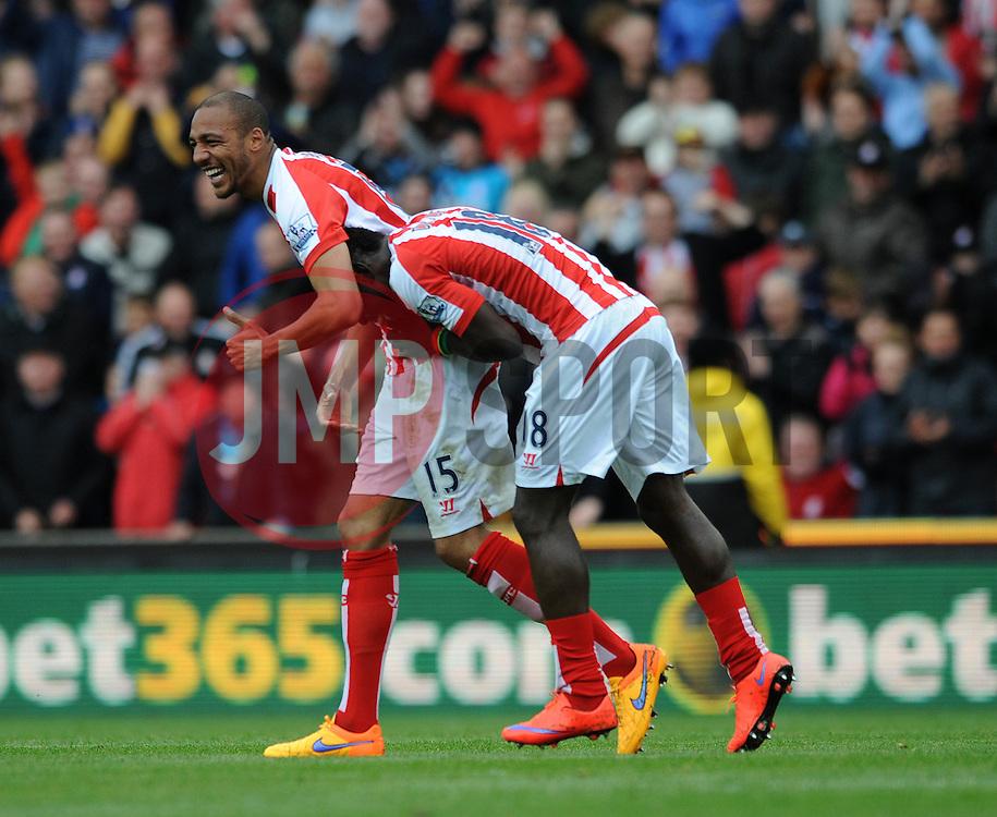Stoke City's Steven N'Zonzi celebrates his goal with Stoke City's Mame Biram Diouf - Photo mandatory by-line: Dougie Allward/JMP - Mobile: 07966 386802 - 09/05/2015 - SPORT - Football - Stoke - Britannia Stadium<br />  - Stoke v Tottenham Hotspur - Barclays Premier League