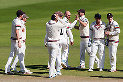Jack Leach of Somerset celebrates after bowling out Laurie Evans of Warwickshire for 73 - Mandatory byline: Rogan Thomson/JMP - 07966 386802 - 24/09/2015 - CRICKET - The County Ground - Taunton, England - Somerset v Warwickshire - Day 3 - LV= County Championship Division One.