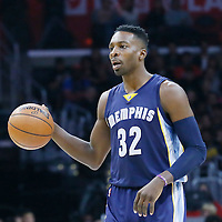 09 November 2015: Memphis Grizzlies forward Jeff Green (32) brings the ball up court during the Los Angeles Clippers 94-92 victory over the Memphis Grizzlies, at the Staples Center, in Los Angeles, California, USA.