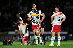 Harlequins captain Chris Robshaw speaks to team-mate Danny Care - Photo mandatory by-line: Patrick Khachfe/JMP - Mobile: 07966 386802 26/10/2014 - SPORT - RUGBY UNION - High Wycombe - Adams Park - Wasps v Harlequins - European Rugby Champions Cup