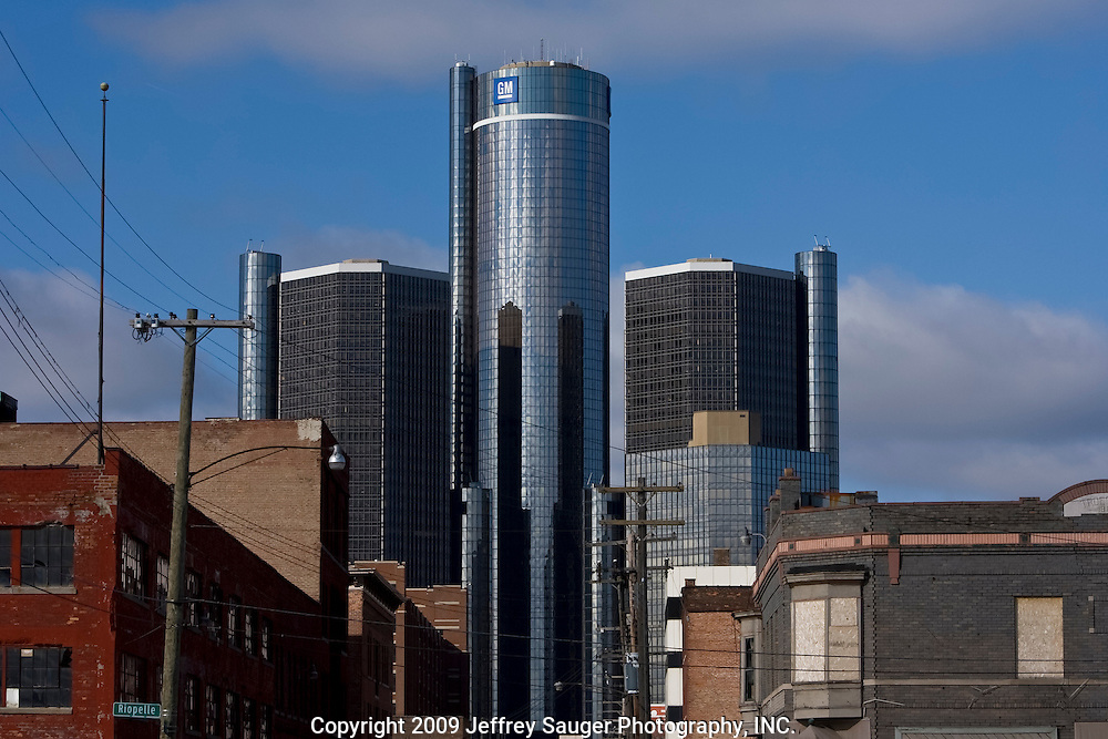 General Motors global headquarters at the Renaissance Center in Detroit, MI, Monday, March 30, 2009. GM's Chairman and CEO Rick Wagoner stepped down on Sunday after the administration asked him to resign. (Jeffrey Sauger)