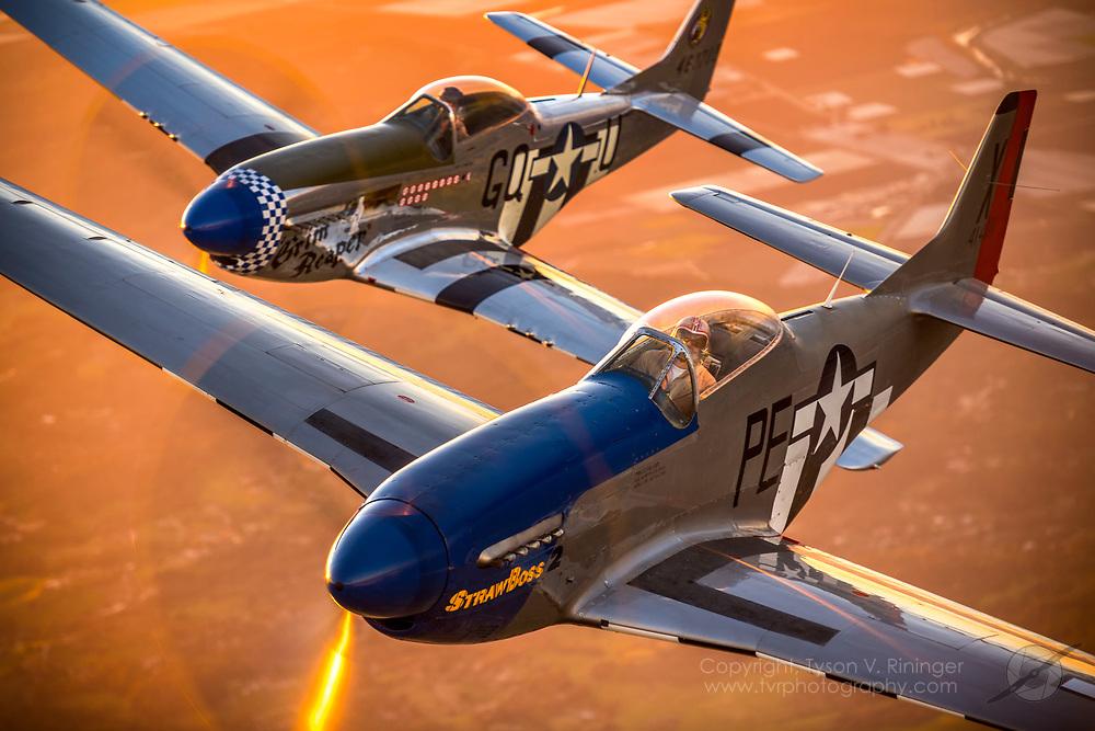 David Presta flying P-51D StrawBoss 2 with Sal Rubino, Jr. flying P-51D Grim Reaper. Beech 18 photo ship flown by Steve Lamb, Jr. over Hollister, CA.