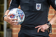 Referee Geoff Eltringham holding the match ball prior to kick off during the EFL Sky Bet League 2 match between Bradford City and Oldham Athletic at the Northern Commercials Stadium, Bradford, England on 17 August 2019.